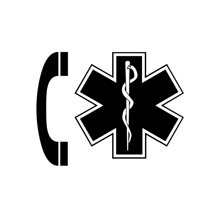 Phone graphic next to a medical graphic to illustrate calling 911, graphic created by Industrial Nameplate