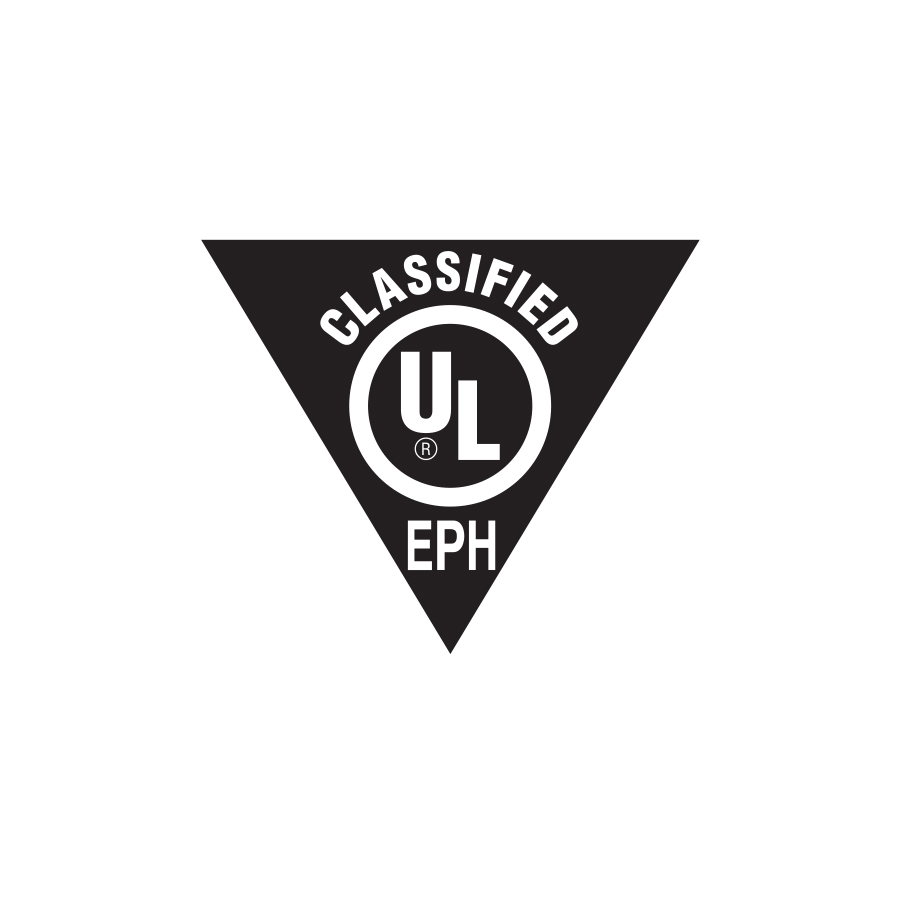 "Filled inverted triangle with with words ""Classified UL EPH"", graphic created by Industrial Nameplate"