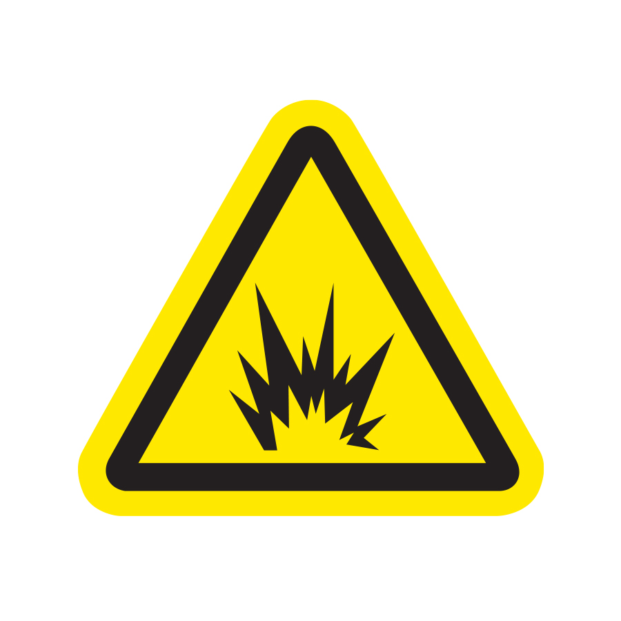 Yellow triangle with explosion inside explosive graphic created by Industrial Nameplate