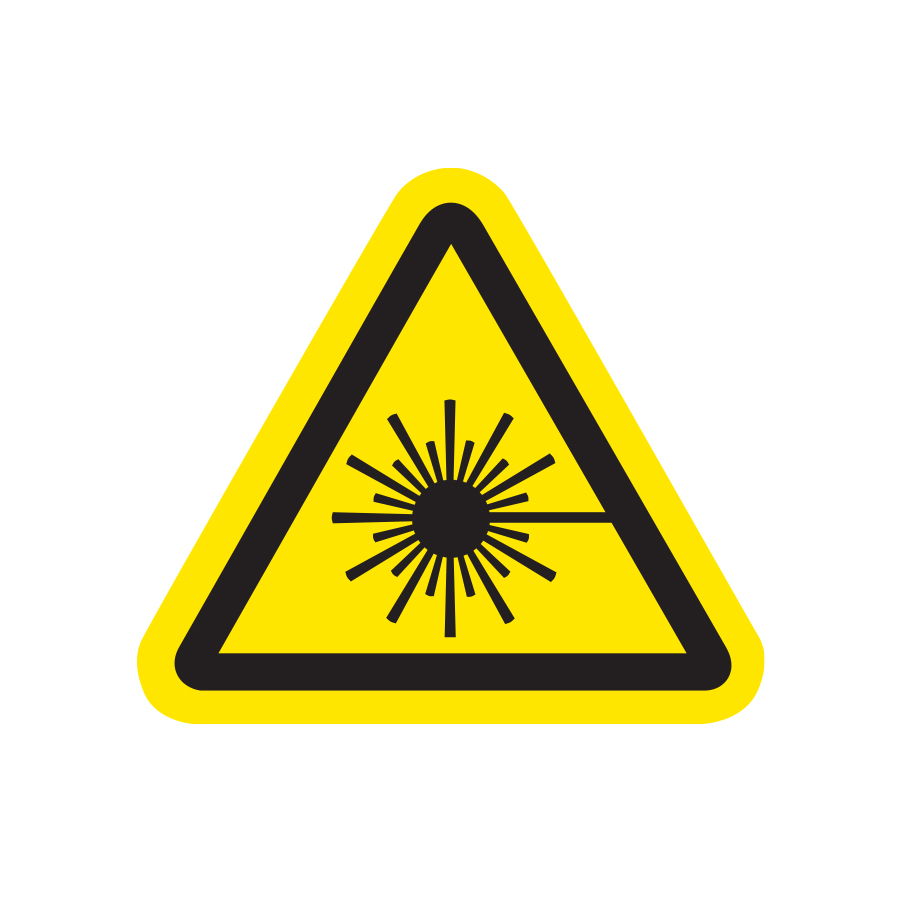Explosive Warning graphic of a yellow triangle with an exploding sun inside created by Industrial Nameplate