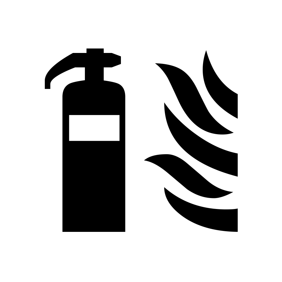 Fire extinguisher next to flames graphic created by Industrial Nameplate