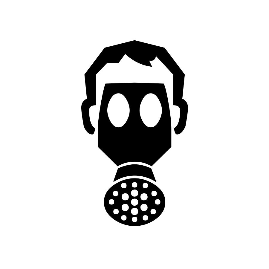 Face with gas mask graphic created by Industrial Nameplate