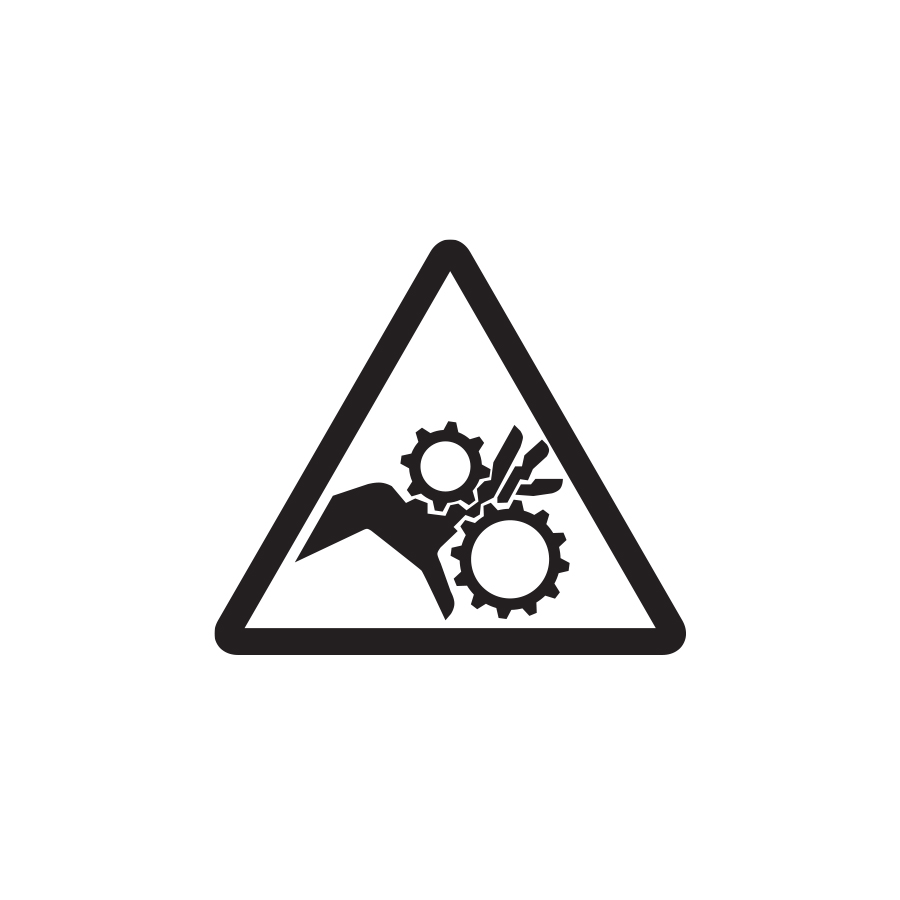 Graphic of a line drawn triangle with a hand stuck in gears inside, created by Industrial Nameplate