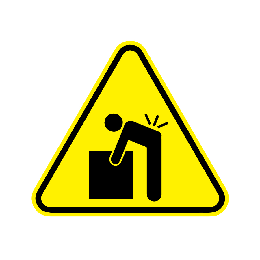 Heavy object warning graphic of a yellow triangle with a man trying to lift a box and hurting his back, created by Industrial Nameplate
