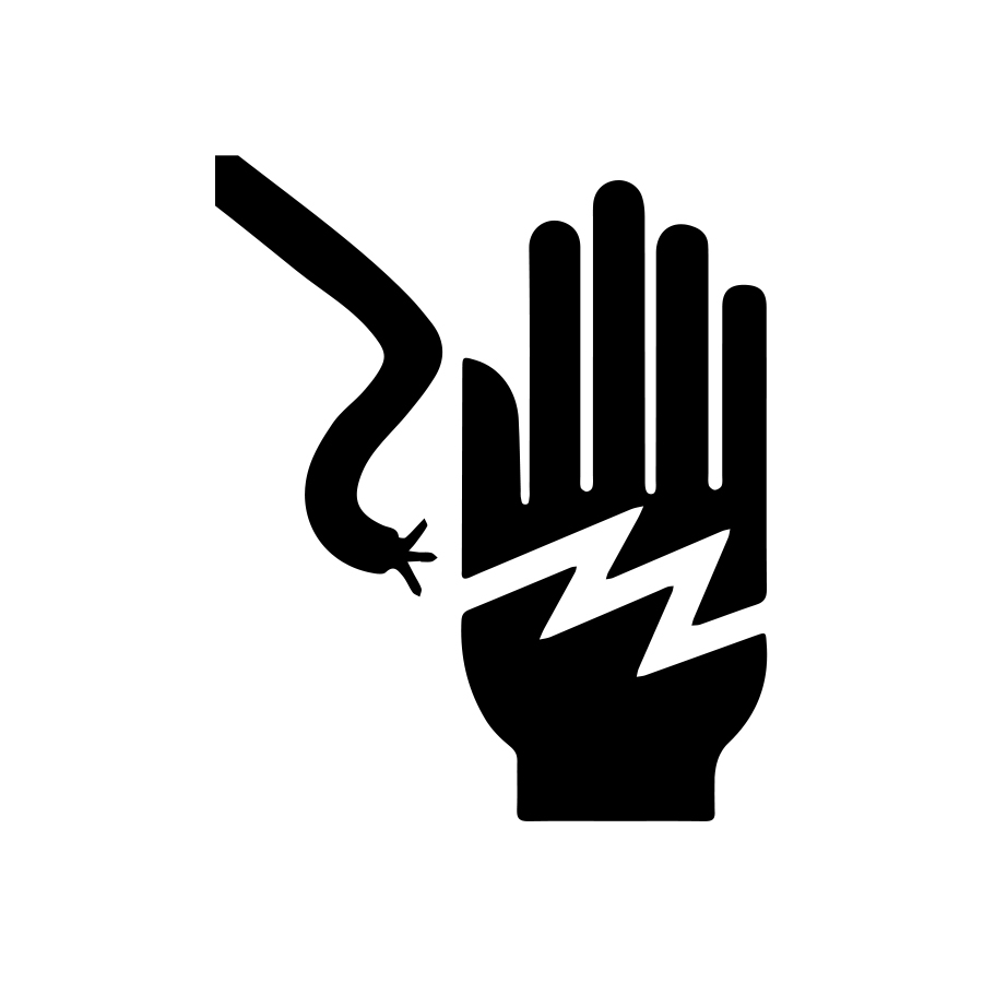 Shock warning graphic of a hand with electrical bolt created by Industrial Nameplate