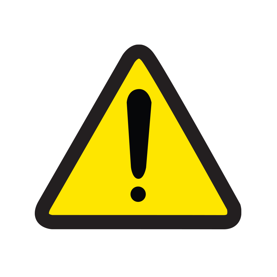 Warning graphic of yellow triangle with exclamation point inside created by Industrial Nameplate.