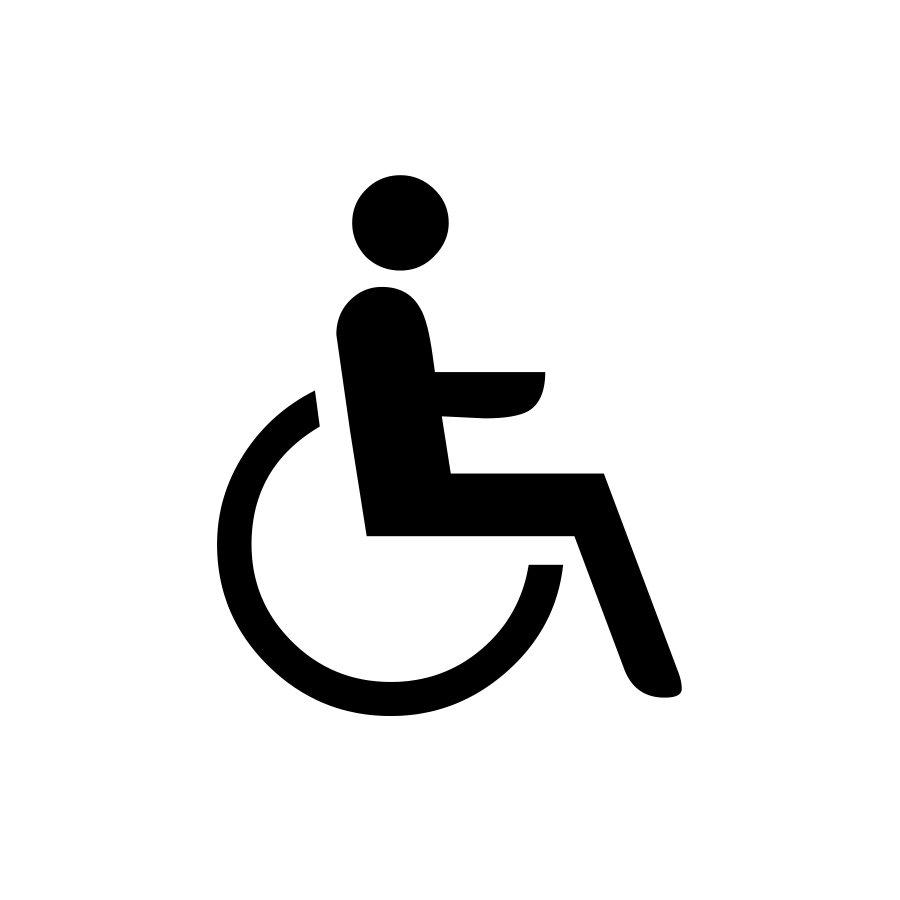 Line drawing of a person in a wheel chair